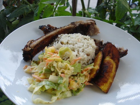 Jerk Ribs, Rice & Peas with coleslaw