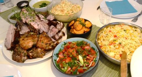 BBQ ribs, kyckling och lamm, sötpotatis, veggie rice